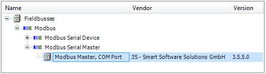 add Modbus Master COM Port CODESYS