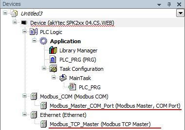Device tree with Modbus TCP Master and Modbus Master COM Port CODESYS