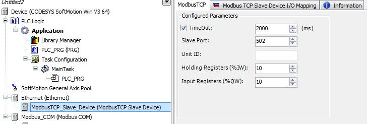 Modbus TCP as Slave COM Port Configuring CODESYS